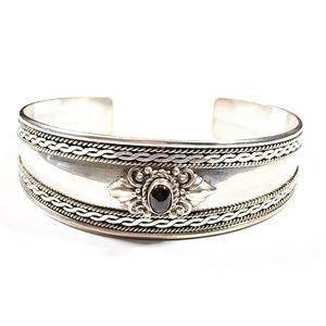 Vintage Sterling Silver Garnet Cabochon Cuff